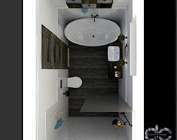Projekt łazienki domu jednorodzinnego w Drogomyślu - Średnia biała łazienka na poddaszu w bloku w domu jednorodzinnym z oknem, styl rustykalny - zdjęcie od dc creative design