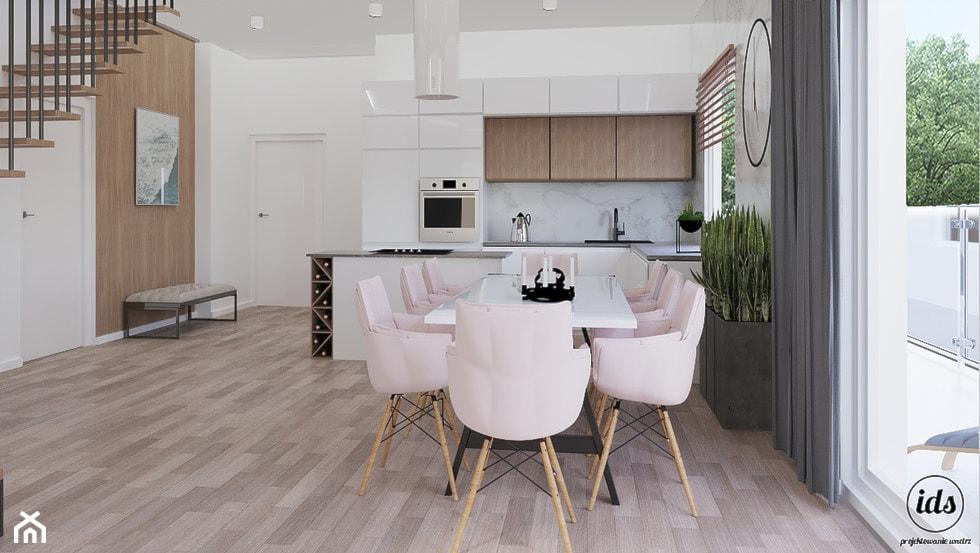 Dwukondygnacyjny partament nad morzem 95m2 - Średnia otwarta biała jadalnia w kuchni, styl nowoczesny - zdjęcie od IDS projektowanie wnętrz - Homebook
