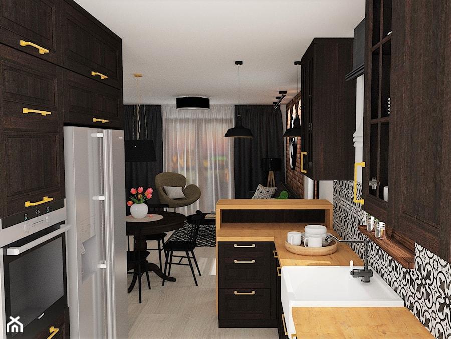 mieszkanie 12 - Średnia otwarta biała czarna kuchnia w kształcie litery g w aneksie z oknem, styl rustykalny - zdjęcie od projekt ka