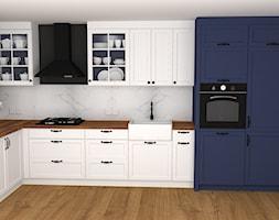 kuchnia 9 - Średnia zamknięta biała kuchnia w kształcie litery l z oknem, styl skandynawski - zdjęcie od projekt ka