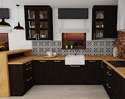 mieszkanie 12 - Średnia otwarta szara czarna kuchnia w kształcie litery u, styl rustykalny - zdjęcie od projekt ka