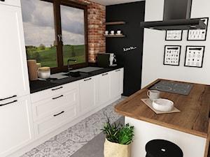 kuchnia 7 - Średnia otwarta biała czarna kuchnia dwurzędowa z wyspą z oknem, styl skandynawski - zdjęcie od projekt ka