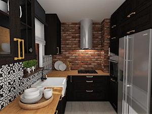 mieszkanie 12 - Mała zamknięta wąska biała czarna kuchnia w kształcie litery u, styl rustykalny - zdjęcie od projekt ka