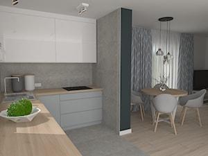 mieszkanie 8 - Średnia otwarta szara kuchnia w kształcie litery l w aneksie z oknem, styl skandynawski - zdjęcie od projekt ka