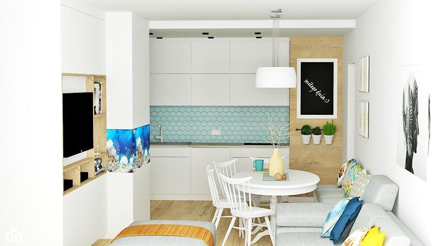 Mieszkanie 4 Mala Biala Niebieska Kuchnia Jednorzedowa W Aneksie