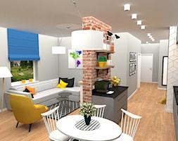 mieszkanie 1 - Duży biały czarny salon z jadalnią, styl nowoczesny - zdjęcie od projekt ka