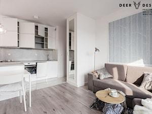 Klasyka, biel i spójność - Średnia otwarta szara kuchnia jednorzędowa w aneksie, styl skandynawski - zdjęcie od Deer Design