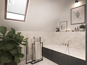 #4 - Mała biała szara łazienka na poddaszu w domu jednorodzinnym z oknem, styl nowoczesny - zdjęcie od Katarzyna Piotrowska