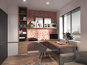 #4 - Średnie białe biuro domowe kącik do pracy w pokoju, styl industrialny - zdjęcie od Katarzyna Piotrowska