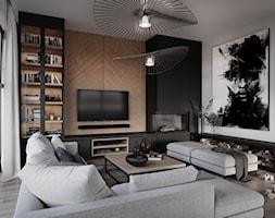 #1 - Średni biały czarny salon z bibiloteczką, styl nowoczesny - zdjęcie od Katarzyna Piotrowska - Homebook