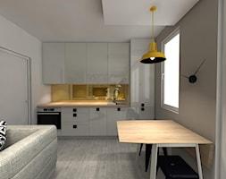 Projekt kawalerki - Mała otwarta szara kuchnia jednorzędowa w aneksie z oknem, styl nowojorski - zdjęcie od Art House Studio