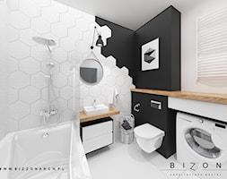 Łazienka - Mała czarna łazienka w bloku w domu jednorodzinnym bez okna, styl skandynawski - zdjęcie od BIZZONARCH - Homebook