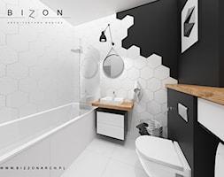 Łazienka - Średnia czarna łazienka w bloku w domu jednorodzinnym bez okna, styl skandynawski - zdjęcie od BIZZONARCH - Homebook