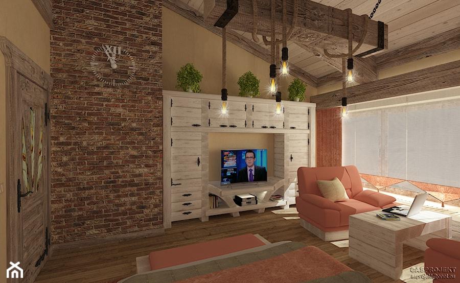 Aranżacje wnętrz - Sypialnia: Sypialnia w drewnie i cegle - ARCHITEKT WNĘTRZ ASPROJEKT. Przeglądaj, dodawaj i zapisuj najlepsze zdjęcia, pomysły i inspiracje designerskie. W bazie mamy już prawie milion fotografii!