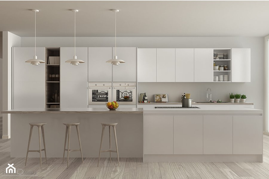 Realizacje - Duża otwarta biała kuchnia dwurzędowa z wyspą, styl nowoczesny - zdjęcie od HOSTA MEBLE