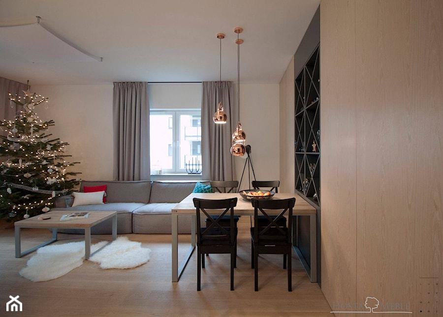 Realizacje - Mała otwarta beżowa jadalnia w salonie, styl nowoczesny - zdjęcie od HOSTA MEBLE