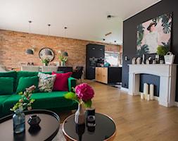 Zielono mi - Średni czarny salon z kuchnią z jadalnią, styl nowoczesny - zdjęcie od Izabela Śmigórska - projektowanie wnętrz