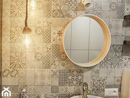 Aranżacje wnętrz - Łazienka: Łazienka patchworkowa - Mała szara łazienka w bloku w domu jednorodzinnym bez okna, styl rustykaln ... - rebelle.concept. Przeglądaj, dodawaj i zapisuj najlepsze zdjęcia, pomysły i inspiracje designerskie. W bazie mamy już prawie milion fotografii!