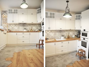 Kuchnia rustykalna - Średnia otwarta biała kuchnia w kształcie litery u w aneksie, styl skandynawski - zdjęcie od rebelle.concept