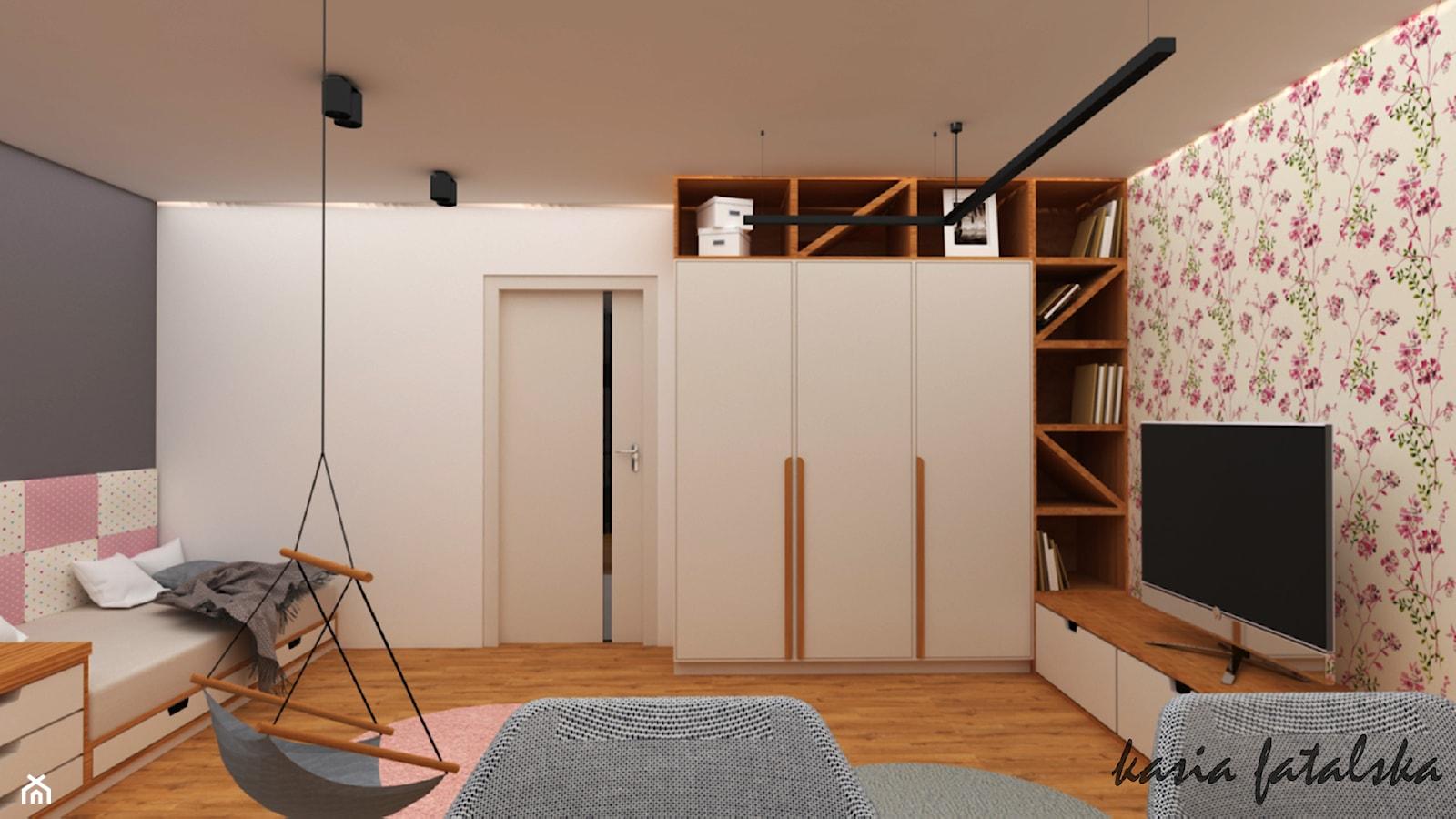 Mieszkanie w bloku z lat '70 - Duży biały czarny pokój dziecka dla dziewczynki dla ucznia dla nastol ... - zdjęcie od kfprojekty - Homebook