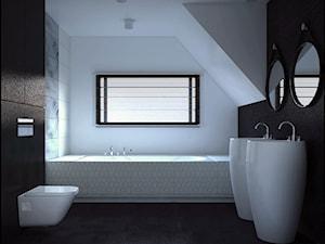 Dom w stylu nowoczesnym - Średnia czarna szara łazienka na poddaszu w domu jednorodzinnym z oknem, styl nowoczesny - zdjęcie od kfprojekty