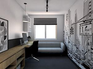 Projekt Mieszkania w stylu industrialnym Kraków - Małe czarne białe biuro domowe kącik do pracy w pokoju, styl industrialny - zdjęcie od pim concept