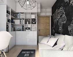 Projekt mieszkania 90 m2 w Krakowie - Małe czarne żółte biuro domowe kącik do pracy w pokoju, styl nowoczesny - zdjęcie od pim concept