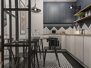 Projekt mieszkania 50m2, Kraków, Zabłocie - Średnia zamknięta szara kuchnia w kształcie litery l, styl industrialny - zdjęcie od pim concept