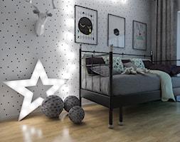 Projekt mieszkania 90 m2 w Krakowie - Mały biały czarny pokój dziecka dla chłopca dla dziewczynki dla malucha dla nastolatka, styl nowoczesny - zdjęcie od pim concept