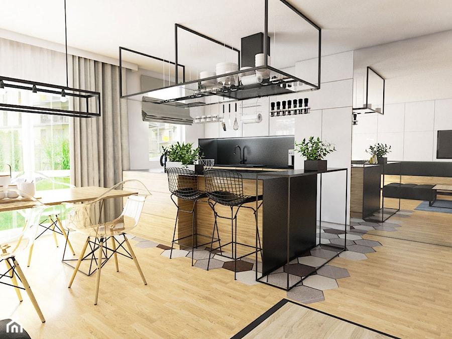 Projekt mieszkania 90 m2 w Krakowie - Średnia otwarta szara kuchnia jednorzędowa z wyspą z oknem, styl nowoczesny - zdjęcie od pim concept