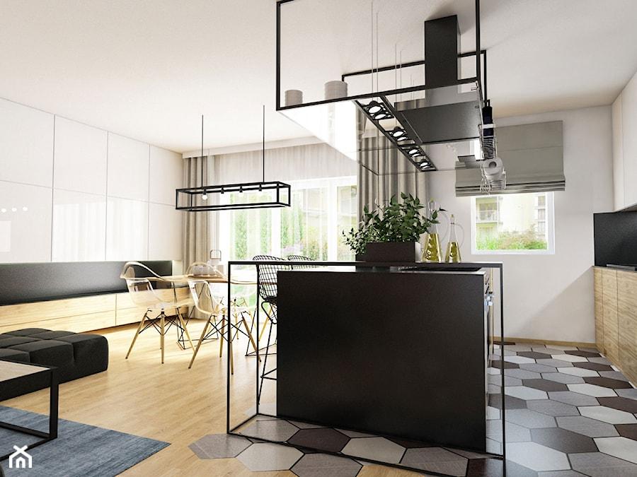 Projekt mieszkania 90 m2 w Krakowie - Średnia otwarta biała kuchnia jednorzędowa w aneksie z wyspą z oknem, styl nowoczesny - zdjęcie od pim concept