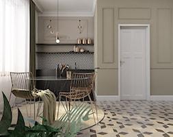 Mała otwarta szara kuchnia jednorzędowa z oknem, styl glamour - zdjęcie od pim concept