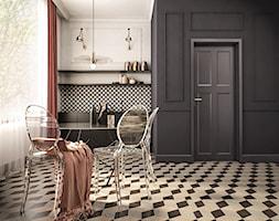 Apartament pod wynajem w Krakowie 75m2 - Mała otwarta szara czarna kuchnia jednorzędowa z oknem, styl glamour - zdjęcie od pim concept