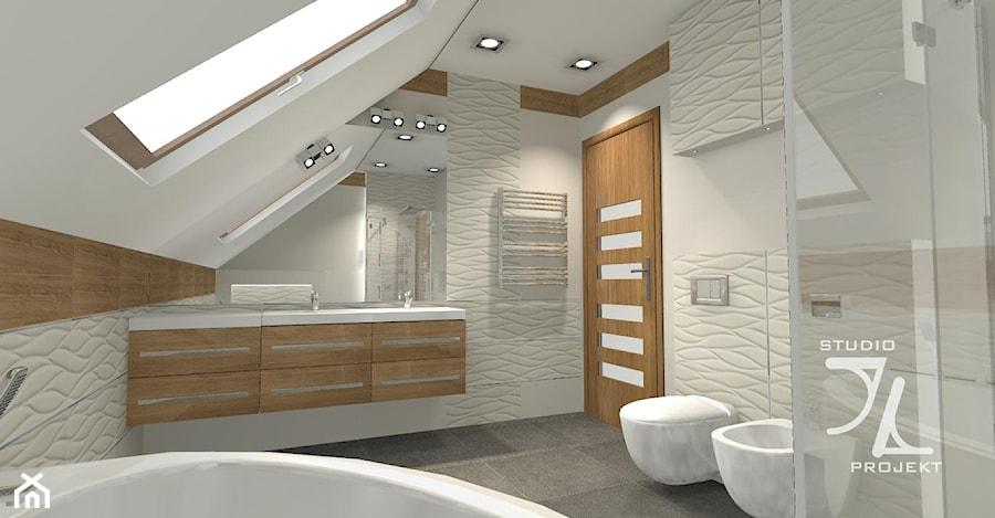 łazienka W Bieli Z Odrobiną Drewna Zdjęcie Od