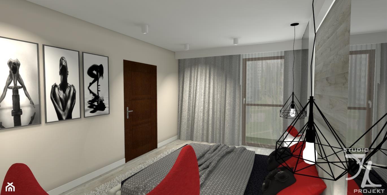 Sypialnia w szarości z akcentem czerwieni - zdjęcie od JLStudioProjekt - Homebook