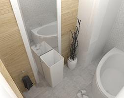 MIESZKANIE DLA RODZINY - Mała biała łazienka na poddaszu w bloku w domu jednorodzinnym bez okna, styl skandynawski - zdjęcie od VIVINO Studio