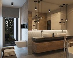 NOWE OBLICZE DOMU Z LAT 70-TYCH - Średnia biała beżowa szara łazienka jako salon kąpielowy z oknem, styl nowoczesny - zdjęcie od VIVINO Studio