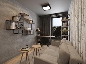 KLIMATYCZNE MIESZKANIE DLA RODZINY - Średnie szare biuro domowe kącik do pracy w pokoju, styl industrialny - zdjęcie od VIVINO Studio
