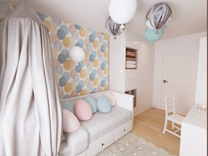 KLIMATYCZNE MIESZKANIE DLA RODZINY - Mały biały kolorowy pokój dziecka dla dziewczynki dla ucznia dla malucha dla nastolatka, styl nowoczesny - zdjęcie od VIVINO Studio