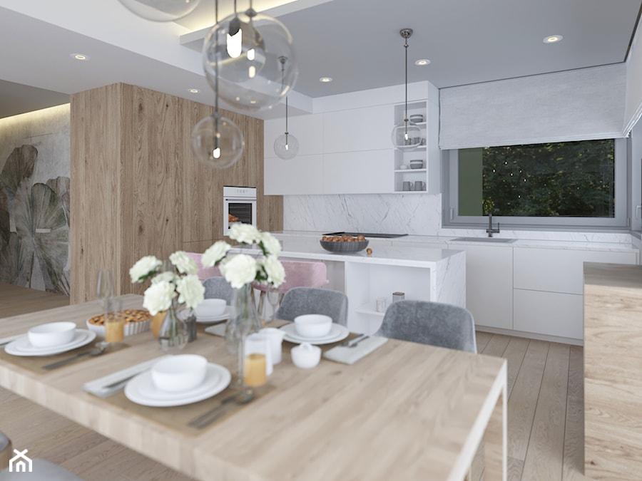DOM W BIELI - Średnia otwarta biała kuchnia w kształcie litery l w aneksie z wyspą z oknem, styl nowoczesny - zdjęcie od VIVINO Studio