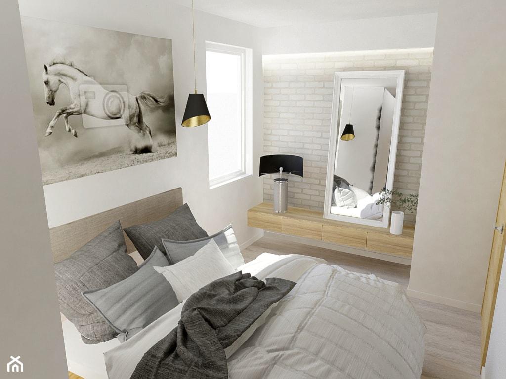 MIESZKANIE DLA RODZINY - Średnia beżowa biała sypialnia małżeńska, styl skandynawski - zdjęcie od VIVINO Studio - Homebook