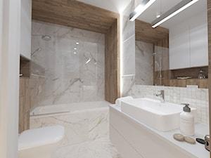 MIESZKANIE Z ANTRESOLĄ - Mała biała łazienka na poddaszu w bloku w domu jednorodzinnym bez okna, styl nowoczesny - zdjęcie od VIVINO Studio
