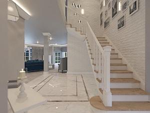 PRZESTRONNY DOM W STYLU HAMPTON - Duży szary hol / przedpokój - zdjęcie od VIVINO Studio