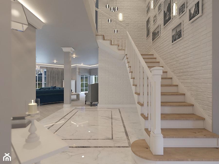 Przestronny Dom W Stylu Hampton Duży Szary Hol