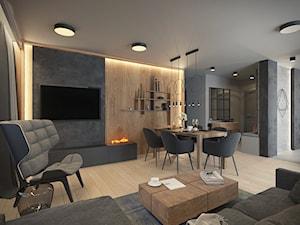 KLIMATYCZNE MIESZKANIE DLA RODZINY - Duży szary salon z jadalnią, styl nowoczesny - zdjęcie od VIVINO Studio