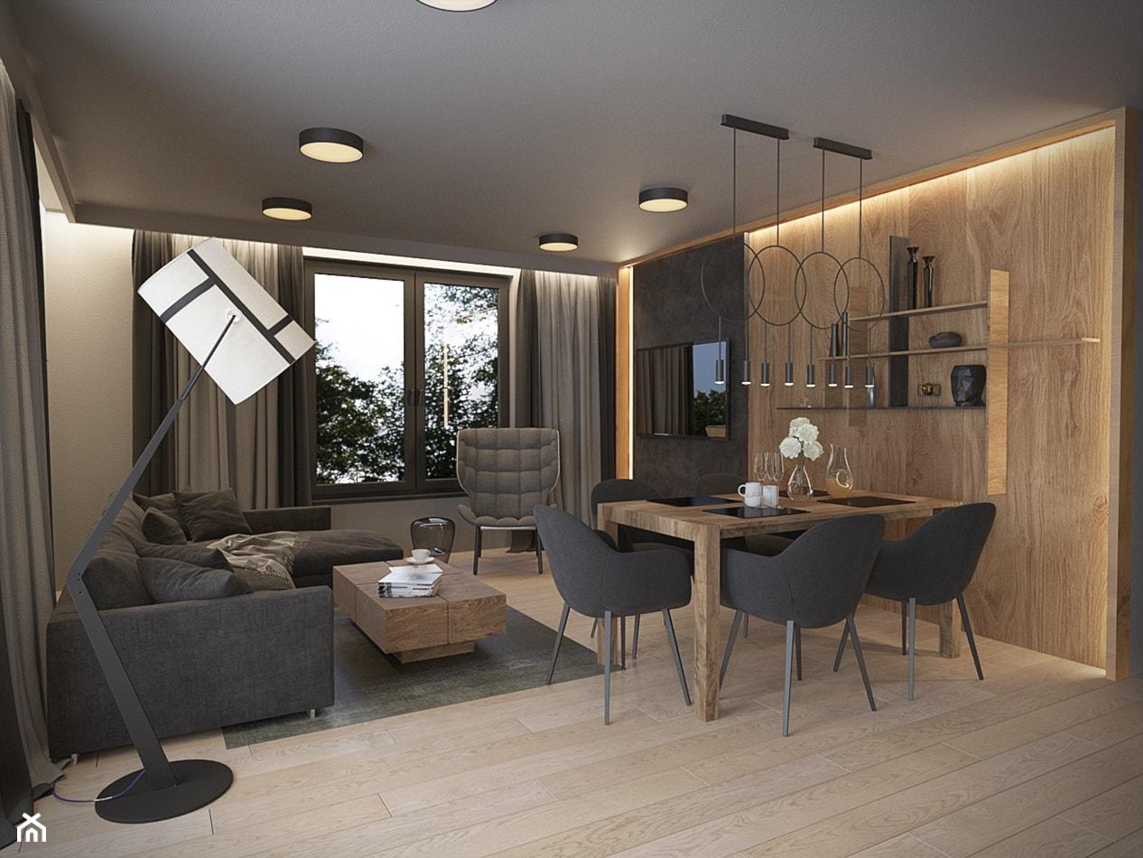 KLIMATYCZNE MIESZKANIE DLA RODZINY - Średni biały beżowy salon z jadalnią, styl nowoczesny - zdjęcie od VIVINO Studio - Homebook