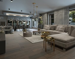 PRAWDZIWY PENTHOUSE WE WŁOSKIM KLIMACIE - Duży beżowy salon z jadalnią, styl nowoczesny - zdjęcie od VIVINO Studio