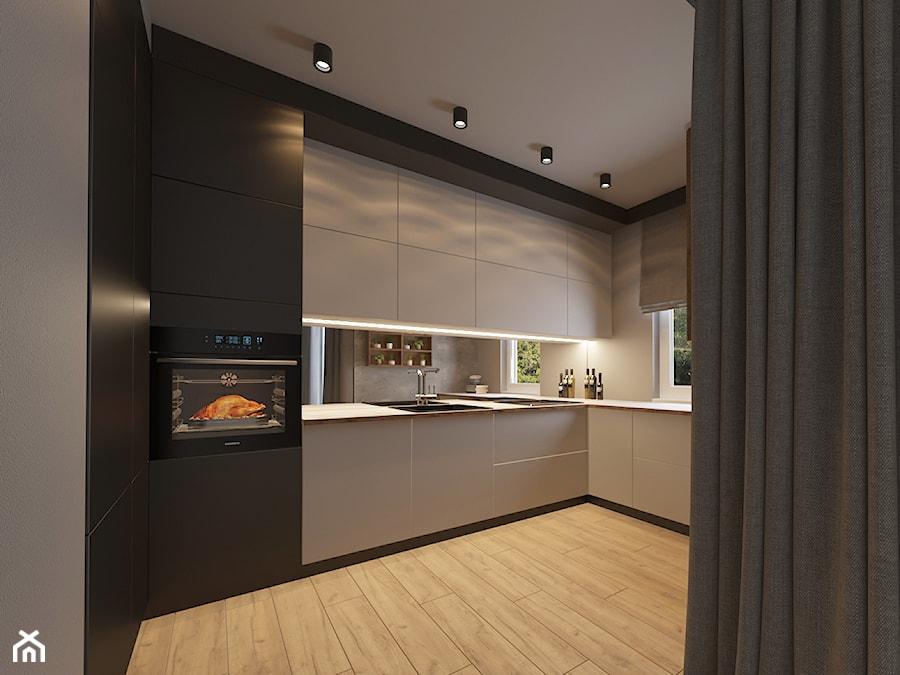 MIESZKANIE Z ANTRESOLĄ - Średnia otwarta biała kuchnia w kształcie litery l, styl nowoczesny - zdjęcie od VIVINO Studio