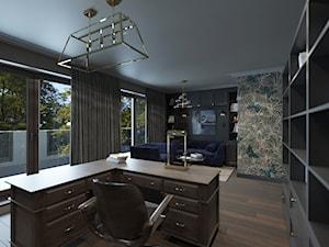 PRAWDZIWY PENTHOUSE WE WŁOSKIM KLIMACIE - Duże szare zielone biuro domowe w pokoju, styl glamour - zdjęcie od VIVINO Studio