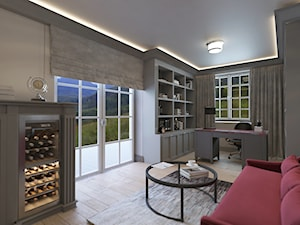 PRZESTRONNY DOM W STYLU HAMPTON - Średnie szare biuro domowe w pokoju, styl klasyczny - zdjęcie od VIVINO Studio